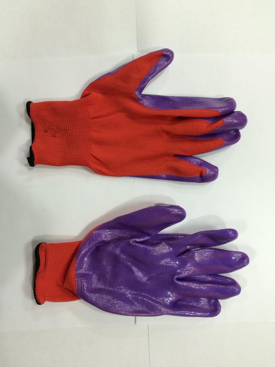 Перчатки х/б, с латексным обливом красно-сиреневые