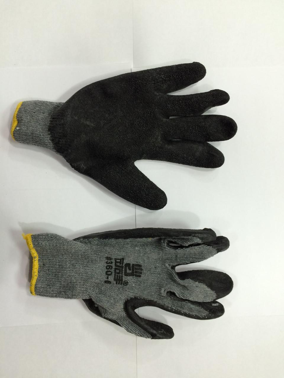 Перчатки х/б, с латексным обливом серо-черные