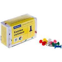 Кнопки силовые OfficeSpace, цветные, 50 штук в упаковке