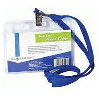 Бейдж горизонтальный SILWERHOF, 110x80 мм, пластиковый, на шнурке, синий