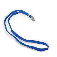 Шнурок для бейджа Deli, зажим на кнопке, длина 48.5 см, синий