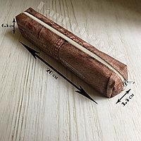 Школьный пенал компактный принт джинсы коричневый
