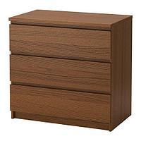 Комод с 3 ящиками МАЛЬМ коричневая морилка ясеневый шпон ИКЕА, IKEA, фото 1