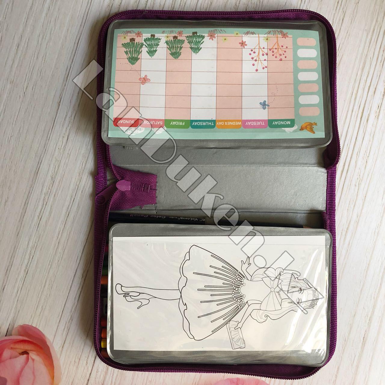 Школьный пенал книжка с наполнением 32 предмета Барби (полный комплект) - фото 9