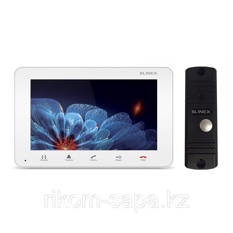 """Комплект домофона SM-07M Белый, цветной видеодомофон 7"""" + Панель вызова ML-16HR BLACK"""