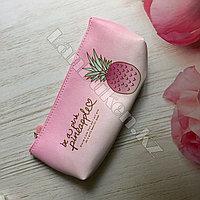 Школьный пенал ананас розовый (02)