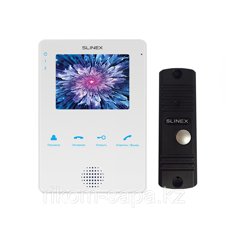Комплект домофона SLINEX MS-04 белый + Панель вызова ML-16HR BLACK