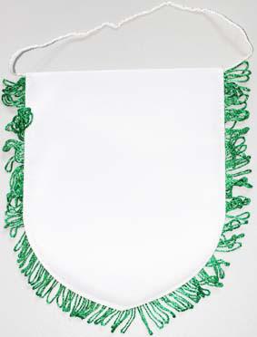 """Вымпел """"Закругленный"""" с зеленой каймой, 15*18см, на веревочке. 100% ПЭ"""