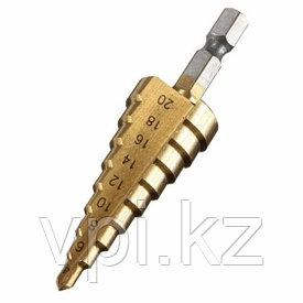 Сверло ступенчатое по металлу, 4-20 мм, 9 ступеней, кобальт,  ЗУБР