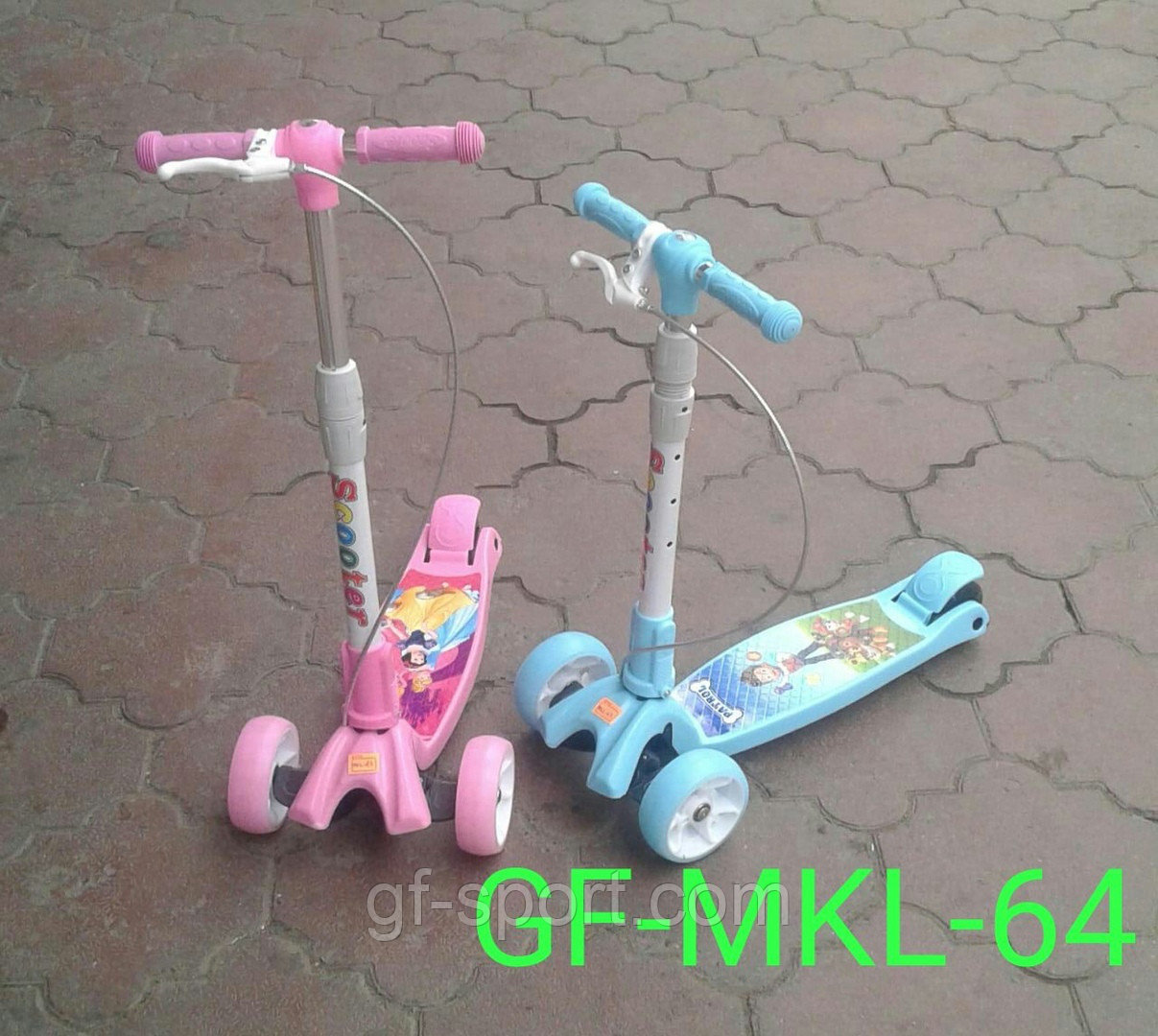 Самокат детский (трехколесный) (розовый, синий) MKL-64