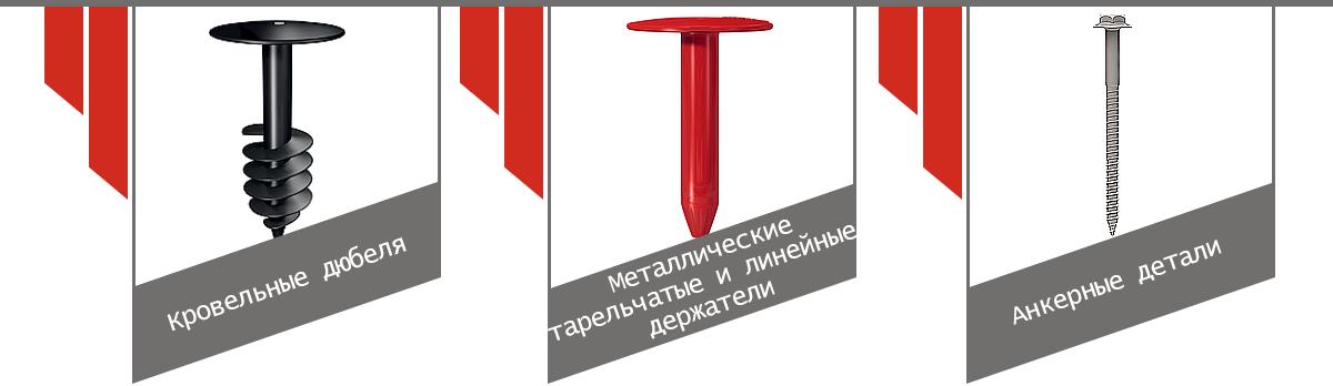Кровельные дюбеля  Металлические тарельчатые и линейные держатели  Анкерные детали