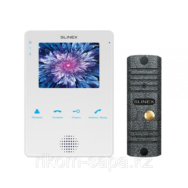 Комплект домофона SLINEX MS-04 белый + Панель вызова ML-16HR ANTIQUE
