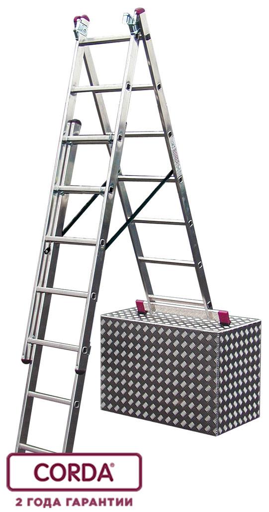 Лестница алюминиевая трехсекционная 3х8 пер. KRAUSE CORDA