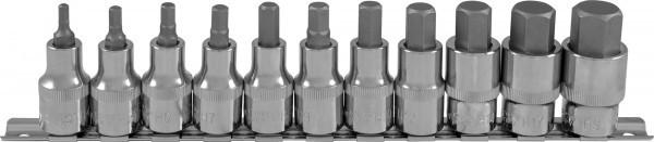 """Набор насадок торцевых 1/2""""DR с вставками-битами шестигранными на держателе, H4-H19, 11 предметов 912211"""