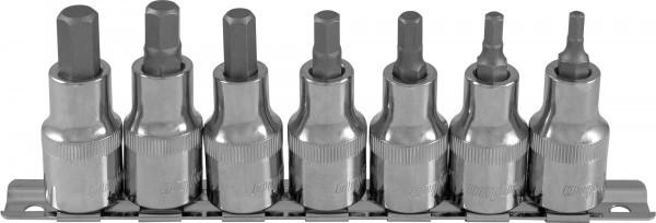"""Набор насадок торцевых 1/2""""DR с вставками-битами шестигранными на дрежателе, H4-H10, 7 предметов 912207"""