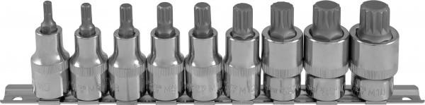 """Набор насадок торцевых 1/2""""DR с вставками-битами SPLINE на держателе, M5-M18, 9 предметов 912779"""