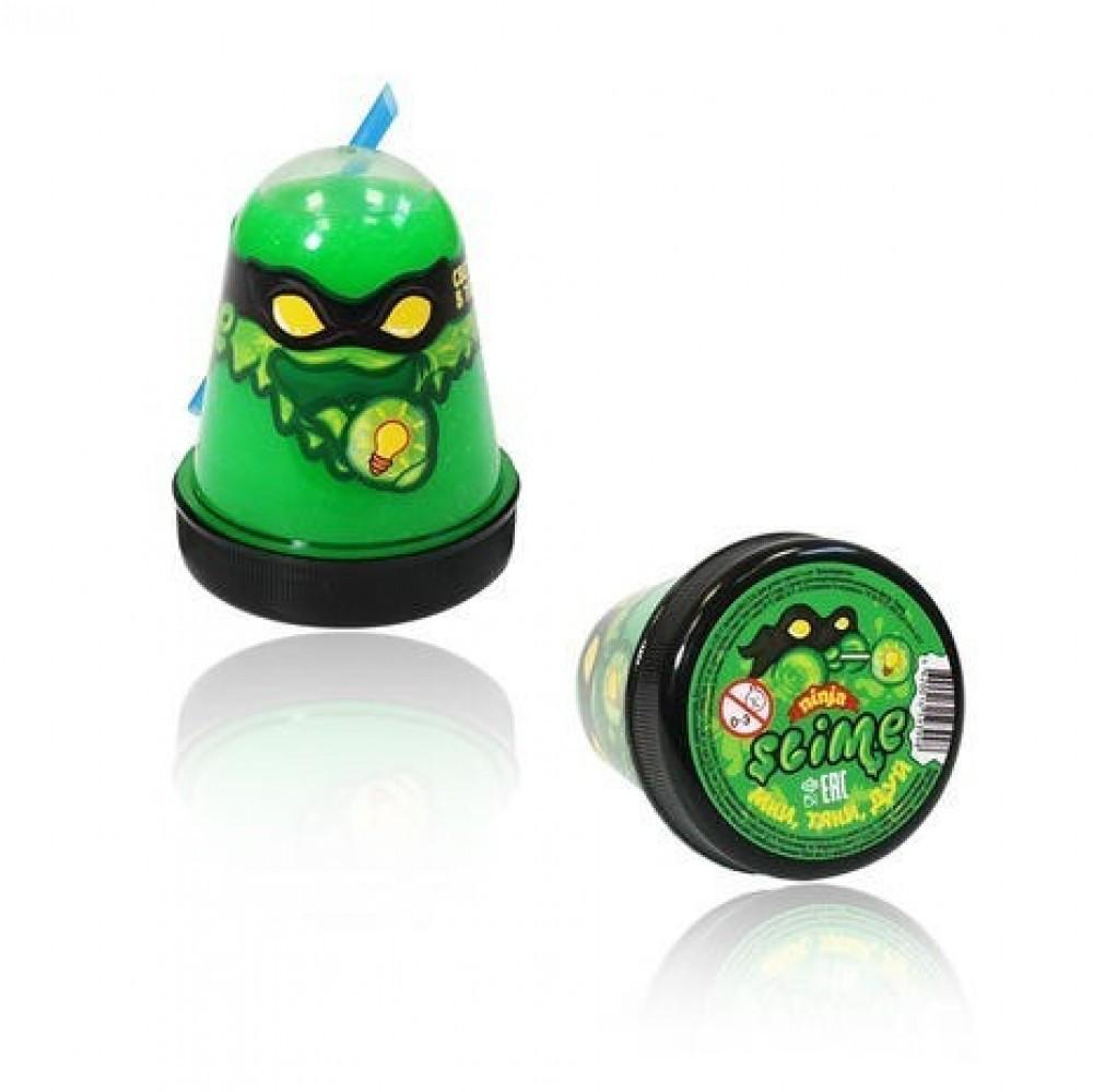 Жвачка для рук Ninja Slime с трубочкой, 130 гр (зелёный, светится в темноте)
