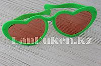 """Большие карнавальные очки """"Сердечки"""" (с зеленой оправой) оранжевый"""