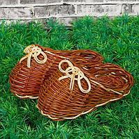 """Плетеная Ваза """"Счастливая пара"""" папоротник, 13 см × 14 см × 6 см"""