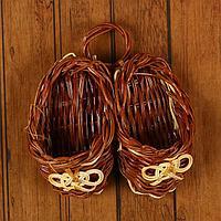 """Плетеная Ваза """"Счастливая пара"""" папоротник. 11 см × 11 см × 5 см, фото 1"""