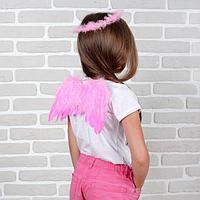 """Карнавальный набор """"Ангел"""", 2 предмета: нимб, крылья, цвет розовый, 3-5 лет, фото 1"""