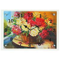 """Часы настенные прямоугольные """"Ваза с красными и белыми цветами""""25х35см микс"""