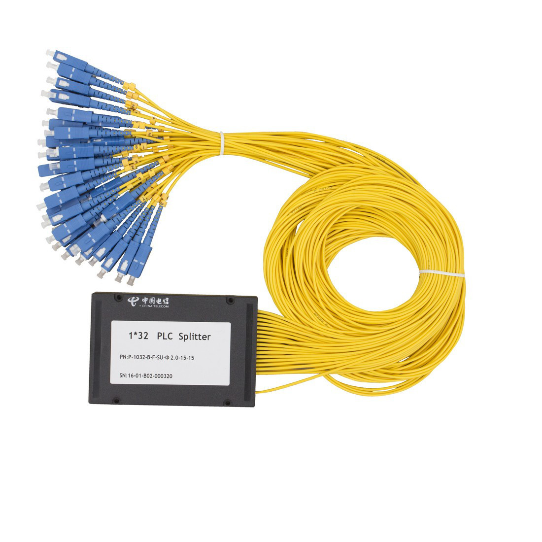 Сплиттер оптоволоконный PLC с брекетом А-Оптик 1х32 SC/UPC 15m SM