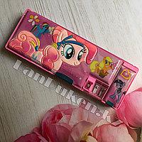 Школьный пенал каркасный с 3 отделениями + 2 точилки My Little Pony