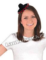 Сомбреро мексиканская шляпа мини черная с красной бахромой