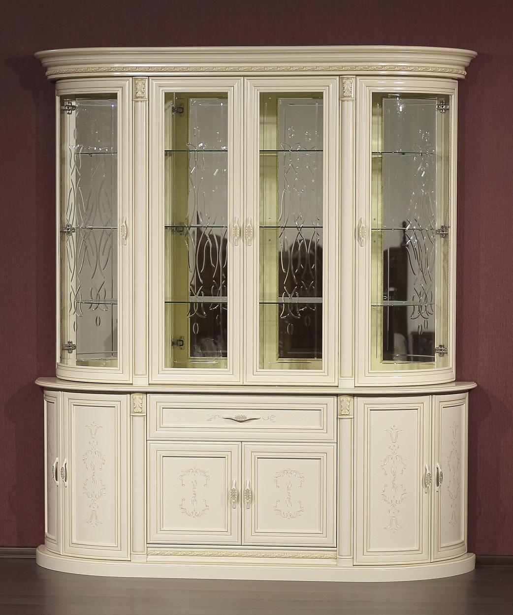 """4-х дверная витрина """"Милан-1-2-01"""" из массива древесины"""