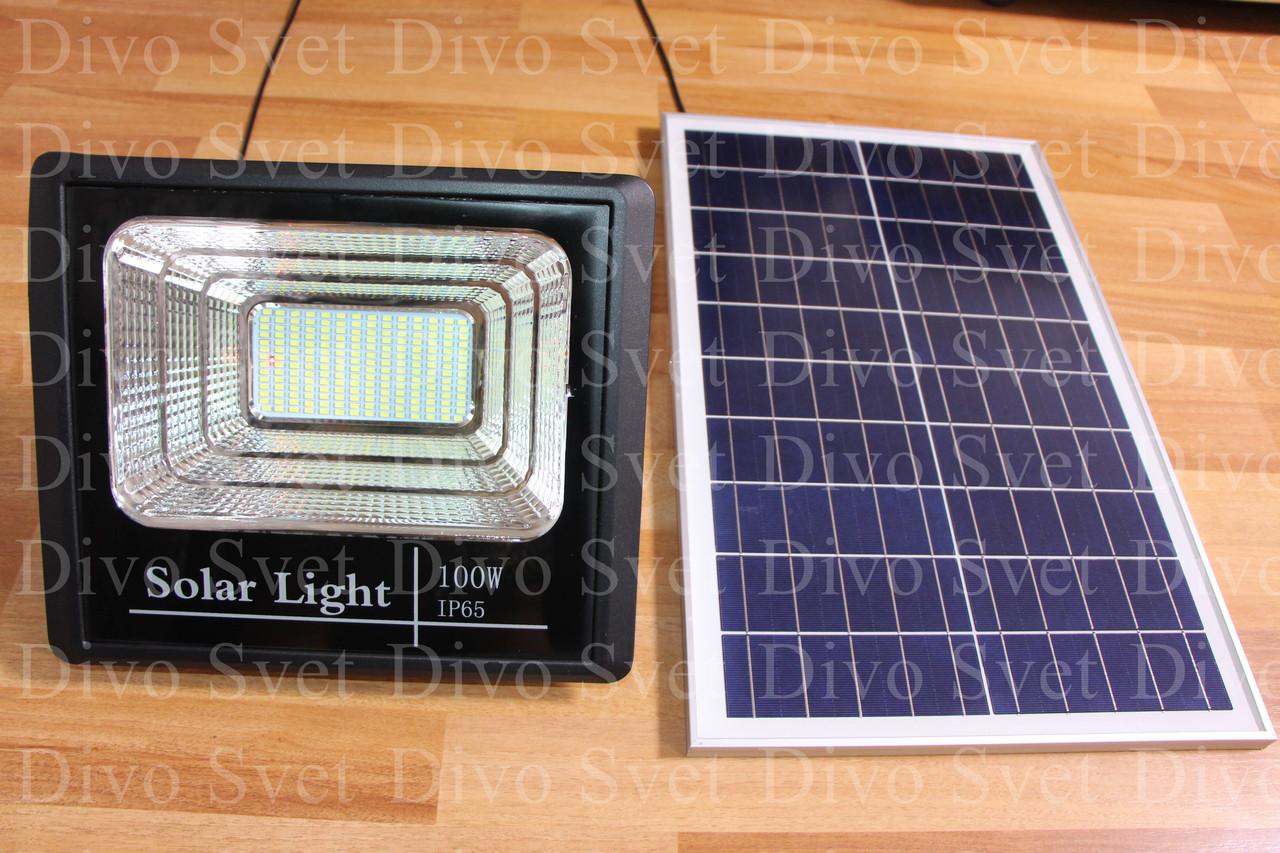 Прожектор на солнечных батареях 100W (2 ВАРИАНТА) Солнечный светодиодный светильник LED 100 Вт.