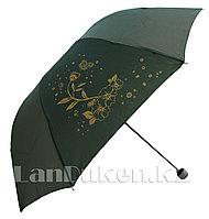 Складной зонт антиветер цветок с бабочкой зеленый
