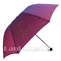 Складной зонт антиветер цветок с бабочкой розовый