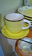 Керамический набор из 6 чайных пар. Желтый
