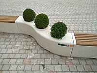 Скамья Onda bench trio из мраморного композитного камня с деревянным настилом