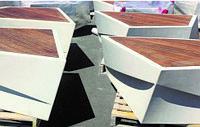 Скамья Aregam из мраморного композитного камня с деревянным настилом