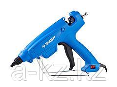 Клеевой пистолет ЗУБР 06851-120-12_z02, термоклеящий, электрический, эргономичная рукоятка, выключатель на рукоятке, рабочая температура 193 градусов,