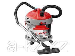 Строительный пылесос ЗУБР ЗППУ-1400-20, сухая и влажная уборка, нержавеющая сталь, усиленное основание, розетка до 2000 Вт, 20 л, 1400 Вт