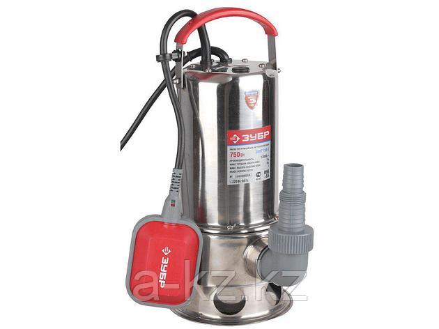 Дренажный насос погружной ЗУБР ЗНПГ-750-С, для грязной воды, корпус из нержавеющей стали, пропускная способность 230 л/мин, 750 Вт, фото 2