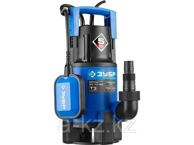 Дренажный насос погружной для грязной воды ЗУБР НПГ-Т3-750, ПРОФЕССИОНАЛ, Т3 (d пропускаемых частиц до 35 мм), 750 Вт, пропускная способность 230, фото 2