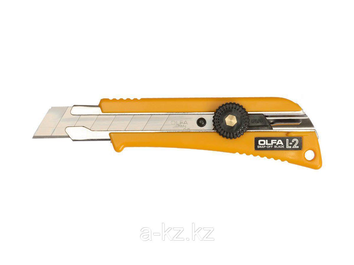 Нож канцелярский OLFA OL-L-2, с выдвижным лезвием эргономичный с резиновыми накладками, 18 мм