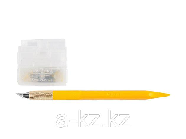 Нож с перовым лезвием OLFA OL-AK-5, Utility Models, дизайнерский, для точных работ, рукоятка с мини шпателем, 5 лезвий, 4 мм, фото 2