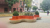 Скамья Comfort trio из мраморного композитного камня с деревянным настилом