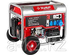 Бензиновый электрогенератор ЗУБР ЗЭСБ-6200-ЭН, двигатель 4-х тактный, ручной и электрический пуск, колеса + рукоятка, 6200/5700Вт, 220/12В