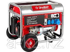 Бензиновый электрогенератор ЗУБР ЗЭСБ-6200-Н, двигатель 4-х тактный, ручной пуск, колеса + рукоятка, 6200/5700Вт, 220/12В