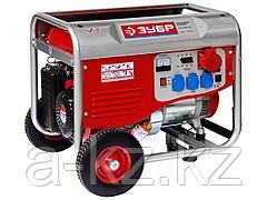 Бензиновый электрогенератор ЗУБР ЗЭСБ-5500-ФН, двигатель 4-х тактный, ручной пуск, колеса + рукоятка, 380/220В, 5500Вт