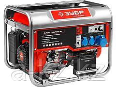 Бензиновый электрогенератор ЗУБР ЗЭСБ-6200-Э, двигатель 4-х тактный, ручной и электрический пуск, 6200/5700Вт, 220/12В
