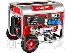 Бензиновый электрогенератор ЗУБР ЗЭСБ-5500-Н, двигатель 4-х тактный, ручной пуск, колеса + рукоятка, 5500/5000Вт, 220/12В