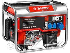 Бензиновый электрогенератор ЗУБР ЗЭСБ-5500-Э, двигатель 4-х тактный, ручной и электрический пуск, 5500/5000Вт, 220/12В