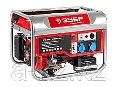 Бензиновый электрогенератор ЗУБР ЗЭСБ-2800-Э, двигатель 4-х тактный, ручной и электрический пуск, 2800/2500Вт, 220/12В
